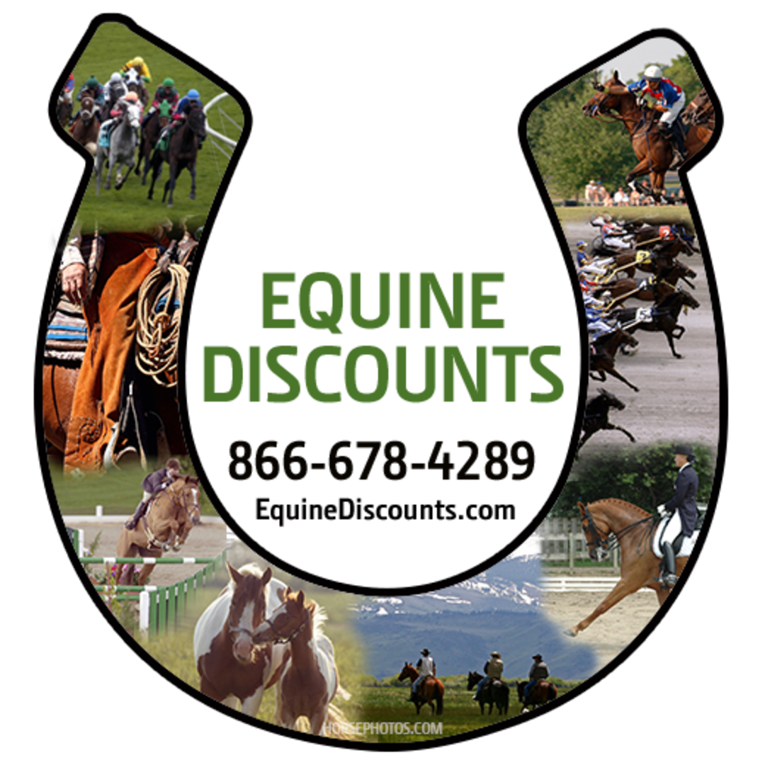 Horse show icon with Equine Discounts in the middle of it.