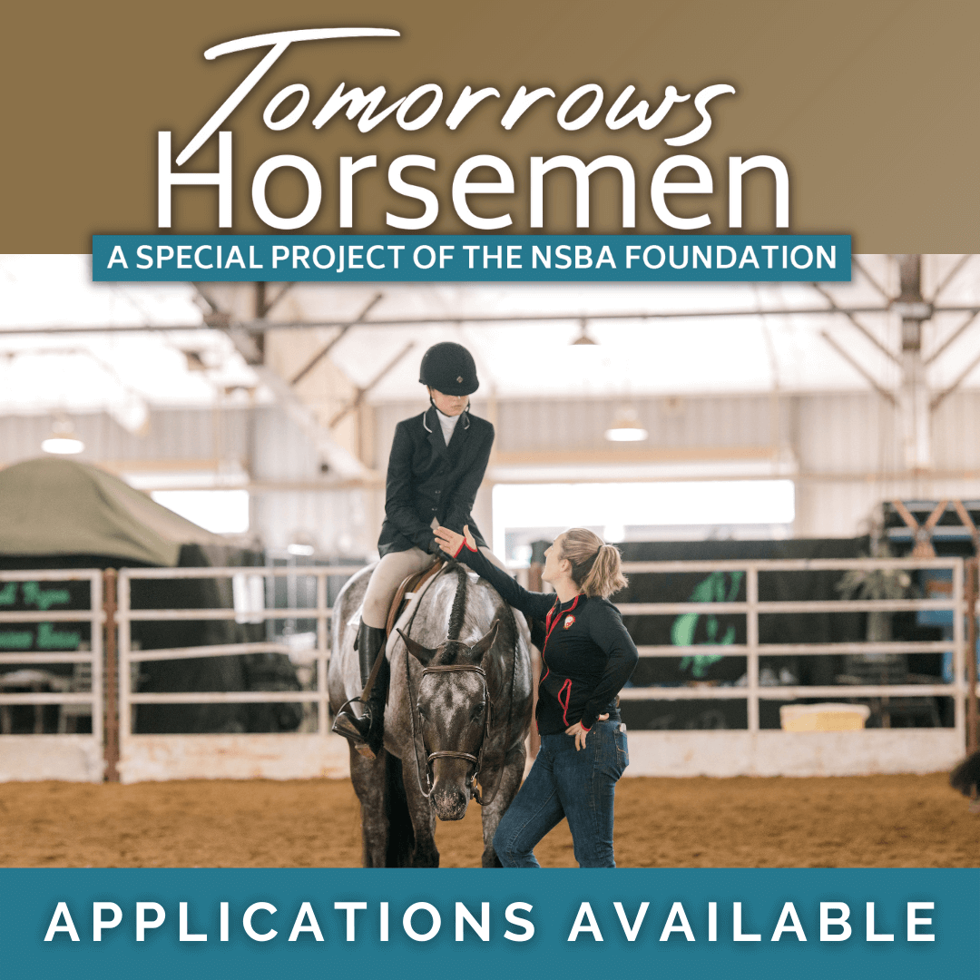 Tomorrows horsemen logo with exhibitor riding a horse talking to a trainer.